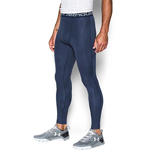 Under Armour Men's HeatGear Armour Printed Compression Leggings, Midnight Navy/Steel, Small by Under Armour (Image #4)