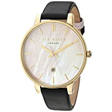 Ted Baker Women's 'KATE' Quartz Stainless Steel and Leather Dress Watch, Color:Black (Model: 10031556)