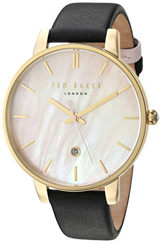 Ted Baker Women's Kate Stainless Steel Japanese-Quartz Watch with Leather Strap, Black, 14 (Model: 10031556