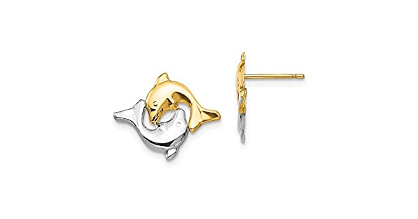 Madi K 14k Yellow Gold /& Rhodium Polished Double Dolphin Post Earrings