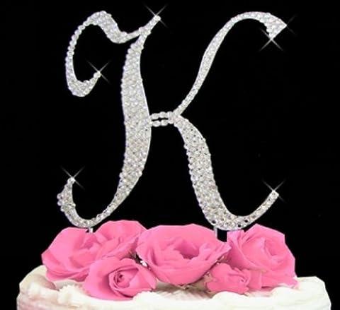 Rhinestone Cake Topper Letter K - Swarovski Crystal Wedding Cake