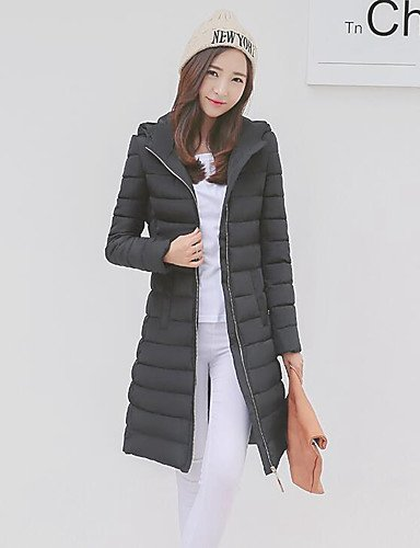 Women's Padded Black Sleeve YRF Coat Long Solid NAVYBLUE Hooded chic M Street Gray Blue Z4xfqw