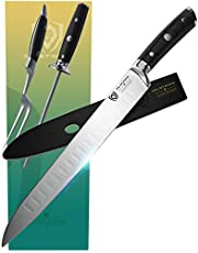 """DALSTRONG Carving Knife & Fork Set - Gladiator Series - Forged German Thyssenkrupp High-Carbon Steel - 4pc - 9"""" Boning Knife - Hollow Ground - 8"""" Honing Rod - NSF Certified"""