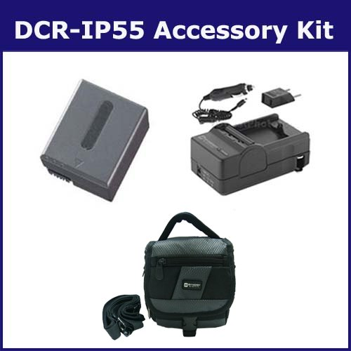 Sony DCR-IP55 Camcorder Accessory Kit includes: SDC-27 Case, SDM-102 Charger, SDNPFF70 Battery ()