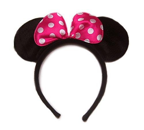 [Pink Pollka Dots Minnie Mouse Ear Headband] (Minnie Halloween Ears)