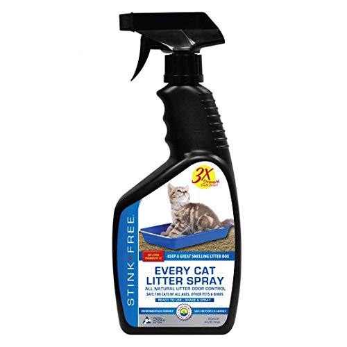 Stink Free Every Cat Litter Spray Odor Eliminator - Urine Enzyme Cleaner & Deodorizer Cuts Litter Box Changes in Half! 24 oz Cat & Pet Odor Deodorizer