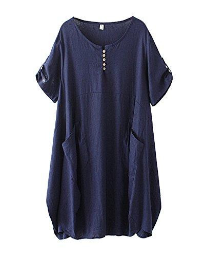(HOOBEE LINEN Women's Short Sleeve Loose Baggy Dress Top with Pockets)