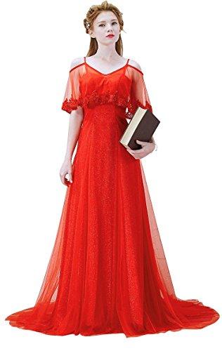 Beauty-Emily Lace A-Linie ärmel V-Ausschnitt Kapelle Tailing Spaghetti Brautkleider Rot