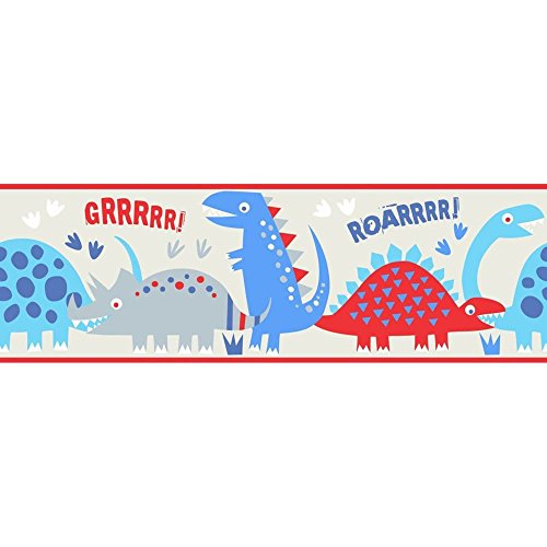 Fun4Walls BO50057 Dino Blue Peel and Stick Border (Dinosaur Wall Border)