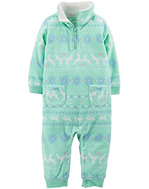 Fleece Romper (Baby) - Mint-3 Months