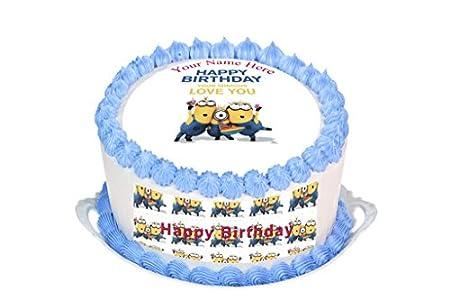 MINIONS PERSONALISED HAPPY BIRTHDAY BLUE 75 INCH PRECUT EDIBLE CAKE TOPPER