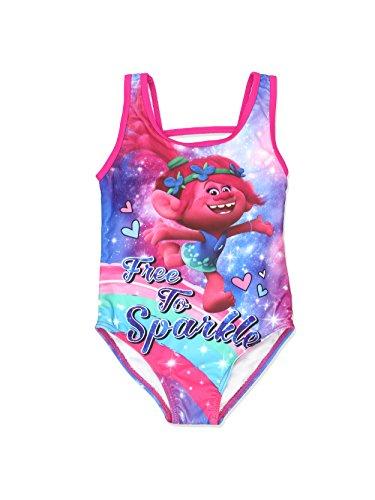 Trolls Girls Swimwear Swimsuit (4, Pink/Multi)