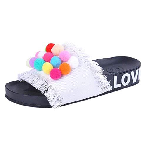 (VEKDONE Sandals Women Hand-Made Denim Color Hairball Flat Flip Flops Sandals Slippers Shoes(White,36))