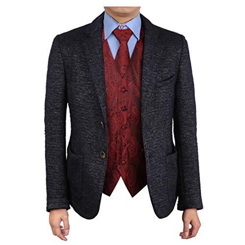 Epoint EGD1B02C-2XL Red Black Paisley Vest Microfiber Lawyers Dress Vests Neck Tie Set Certificate Gift Giving