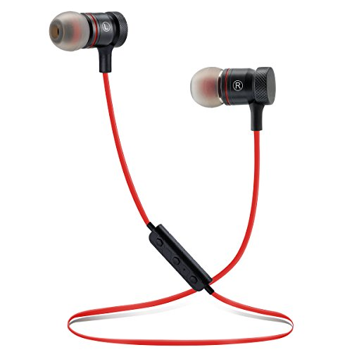 Bluetooth Headphones Sports Wireless Earbuds Sweatproof Headset Magnetic Attraction Stereo Earphones for Running Workout Gym Noise Cancelling Proshine (M-RED)