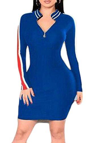Clubwear Bodycon Jaycargogo Maniche A Blu Lunghe Scollo Donne Mini Abito Sexy V AL54qR3j