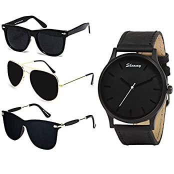 Sheomy UV Protected Sunglasses and watch combo for Men and Women Golden Full BLack -Combo Set of 3