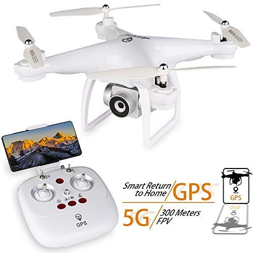 GPS Drone, JJRC H68G RC Drone with 720P HD Camera Live Video 120° Wide-Angle 5G WiFi Quadcopter with 980ft Control Distances, Follow Me, Altitude Hold Headless Mode 3D Flips RTF (White)