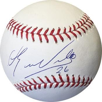 Signed Eduardo Nunez Ball - Rawlings Official Major League #26 blue sig) (Boston Red Sox) - Autographed Baseballs Athlon