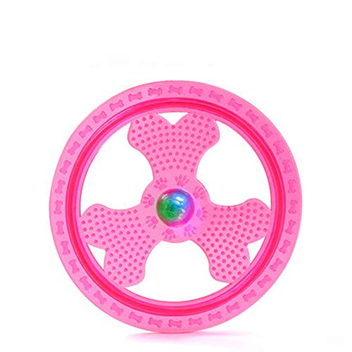 Zelro Soft Flying Disc Dog Sport Toy with Flashing LED Lights, Light Up Pet Frisbee for Catching Floppy Disk Outdoor Night Games