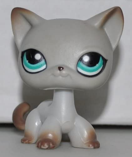 Amazon Com Shorthair Cat 391 Grey Blue Eyes Brown Accents Littlest Pet Shop Retired Collector Toy Lps Collectible Replacement Single Figure Loose Oop Out Of Package Print Toys Games