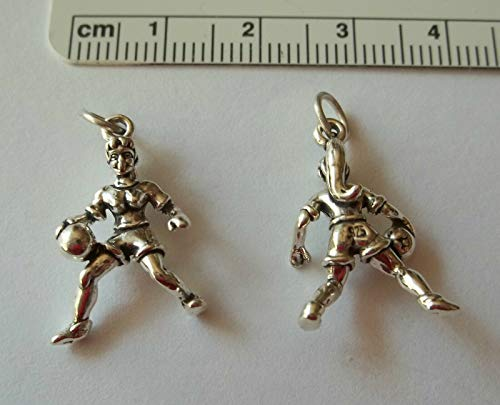 1 Sterling Silver 3D 23x15mm Female Girl Basketball Player Sports Charm