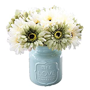 LNHOMY Daisy Artificial Flowers 15 Stems Silk Daisies Flower for Wedding Bouquet Living Room Office Party DIY Home Decoration, Cream and Green 8
