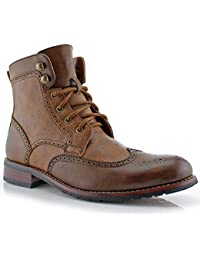 Jonah MPX808567 Mens Casual Perforated High-Top Red Brogue Wingtip Dress Boots