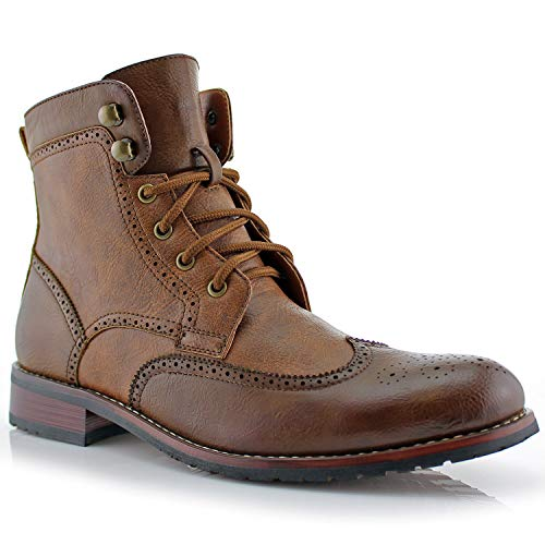(Polar Fox Jonah MPX808567 Mens Casual Perforated High-Top Red Brogue Wingtip Dress Boots - Brown, Size 9.5)