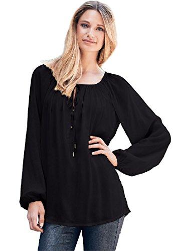 Ellos Women's Plus Size Tie Neck Peasant Tunic Black,3X (Blouse Size Peasant Plus)