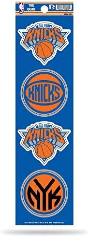 NBA Rico Industries Die Cut 4-Piece The Quad Sticker Sheet, New York Knicks , 3 x 11.5-inches