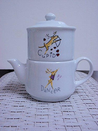 Pottery Barn Reindeer Coffee Condiment Tower Dancer Creamer, Cupid Sugar Pot (Pottery Barn Teapot)