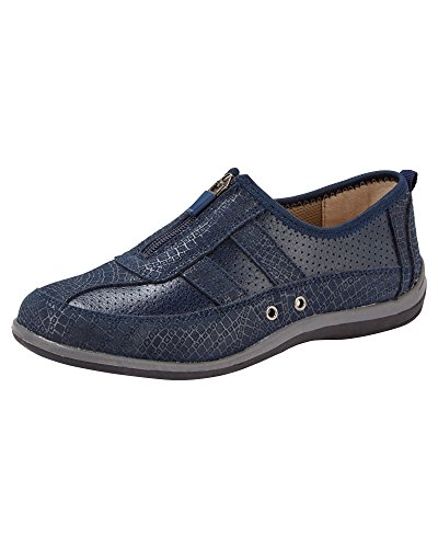 Cotton Traders Ladies Womens Leisure Flex Trainers Shoes Zip Front Fastening Eyelets Navy JbXIr