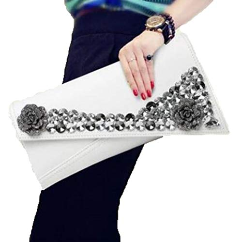 for Handbags and Gshe Bags White Womens Leather Genuine Clutch Party Bag Purses Evening Wedding Wristlet Envelope rrxYqPv