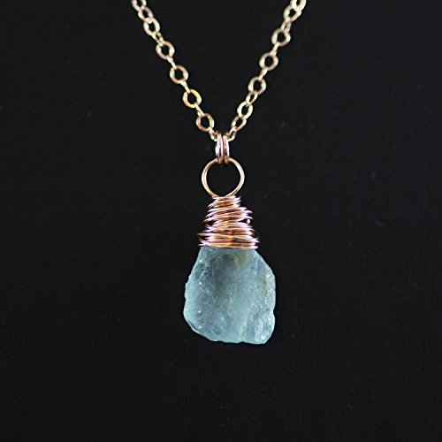 Aqua Blue Gem - Blue Aquamarine Raw Gemstone Rose Gold Necklace - 18