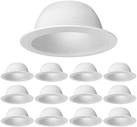 """[12-Pack] PROCURU 6"""" Metal Recessed Can Light Trim Cover, Step Baffle with Ring, White"""