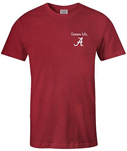 NCAA Alabama Crimson Tide Sketchbook Comfort Color Short Sleeve T-Shirt, Chili,Large