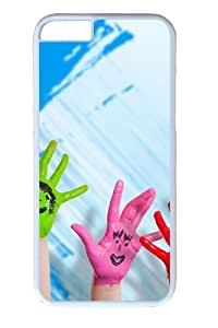 Happy Hands Polycarbonate Hard Case Cover for iphone 6 plus 5.5 inch White