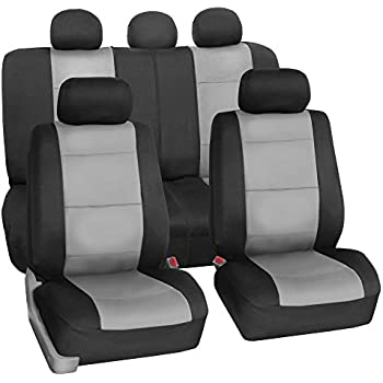 FH Group FB083115 Neoprene Waterproof Car Seat Covers Airbag Ready Rear Split Gray Fit Most Truck Suv Or Van
