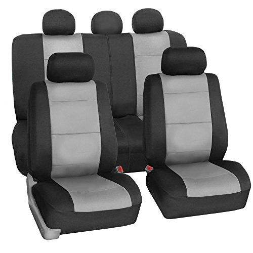 FH GROUP FH-FB083115 Neoprene Waterproof Car Seat Covers Airbag Ready & Rear Split Gray- Fit Most Car, Truck, Suv, or Van