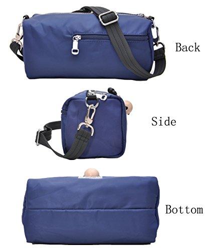 Multi Pocket Shoulder Bag Corss-body Purse Waterproof Nylon Travel Handbags for Women Fashion Waterproof Bag (Blue) by DIYNP (Image #2)