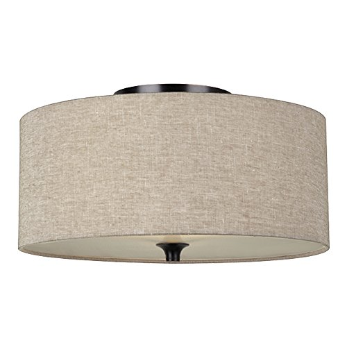 Sea Gull Lighting 75952-710 Stirling Two-Light Flush Mount Ceiling Light with Satin Etched Glass Diffuser and Beige Linen Fabric Shade, Burnt Sienna Finish