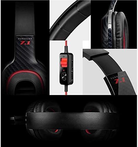 RENKUNDE ヘッドセットステレオ音質で黒と赤のケーブルゲームヘッドセットヘッドセット ゲーミングヘッドセット