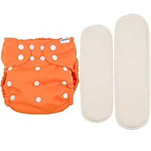 Gerber Starter Pack It's a Snap All-in-One Cloth Diaper with Two Inserts, Orange