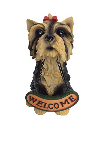 Welcome Yorkieshire Terrier Statue, Hand Painted, Carved Resin Canine Dog