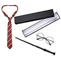 Happy Storm Potter Wand Set for Halloween Cosplay Party Harry Wand Costume Accessories Dress Up Pretend Party Birthday Party Wands Set Glasses and Tie