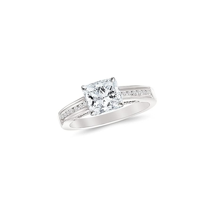 0.65 Cttw 14K White Gold Princess Cut Channel Set Round Diamond Engagement Ring with a 0.45 Carat D E Color VS1 VS2 Clarity Center