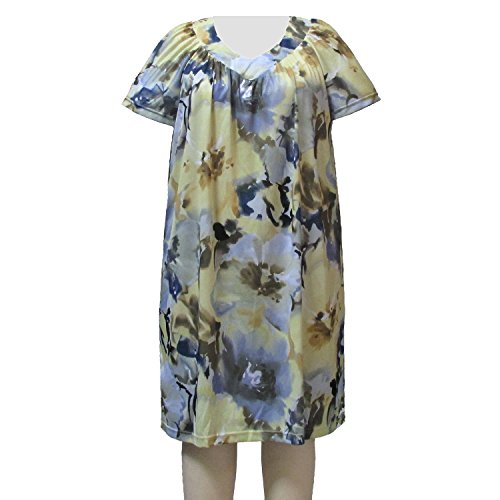 A Personal Touch Women's Plus Size Blossom Short Sleeve V-neck Lounging Dress with Shirring - 3X