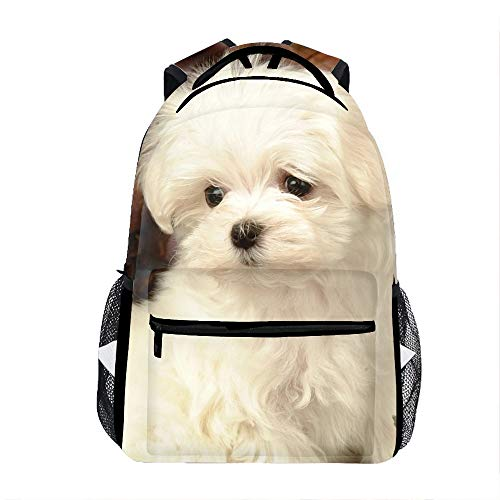 Lovely White Puppy Dog Backpack for Kids School Laptop Backpack School Bags Rucksack Satchel Hiking Bag