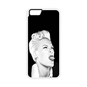 iPhone 6 Plus 5.5 Inch Cell Phone Case White ha38 pink funny music girl face TR2420740